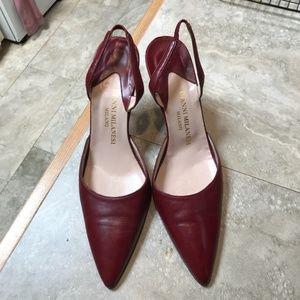 Vintage Gianni Milanesi Maroon Heels Pointed Toe
